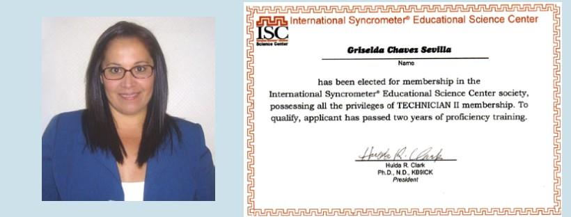 Certified Syncrometer tester Griselda Chavez Sevilla